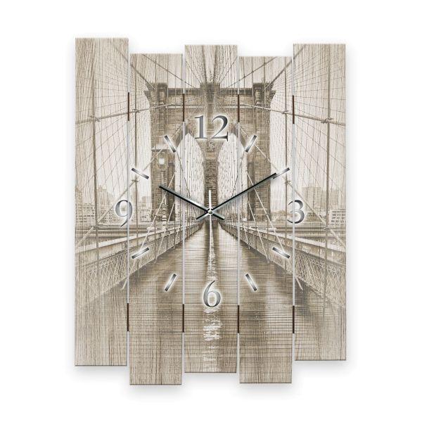 """Designer Wanduhr """"Brooklyn Bridge"""" aus MDF mit leisem Funk- oder Quarzuhrwerk"""