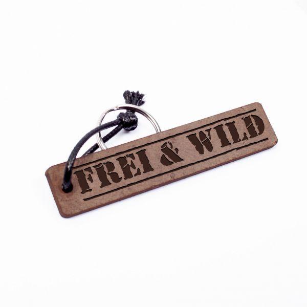 Schlüsselanhänger Rechteck aus Echtleder mit Gravur im Used Look | Frei & Wild