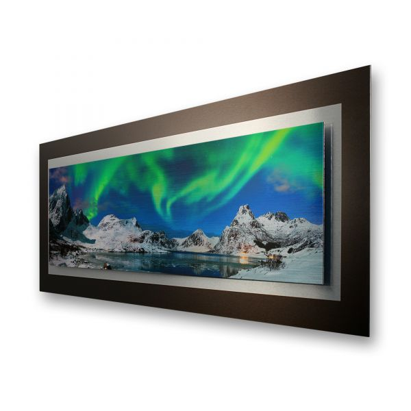 "3D Alu-Wandbild ""Nordlicht"" aus gebürstetem Aluminium"