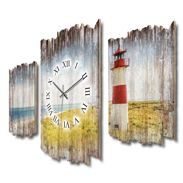 Strandpanorama Leuchtturm Shabby chic Dreiteilige Wanduhr aus MDF mit leisem Funk- oder Quarzuhrwerk