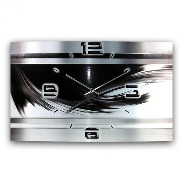 Wanduhr Black & Silver Metallic aus gebürstetem Aluminium mit leisem Funkuhrwerk