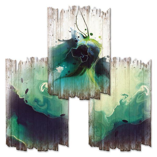 Abstrakt Grün   Deko-Holzschilder im 3er Set   wahlw. in 30x20cm oder 30x45cm