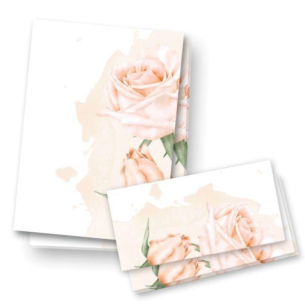 Briefpapier-Set   Rosen   25x DIN A4 Briefpapier mit passenden Umschlägen