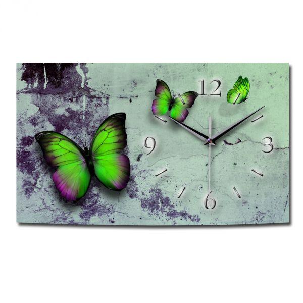 Wanduhr Schmetterlinge aus gebürstetem Aluminium mit leisem Funkuhrwerk