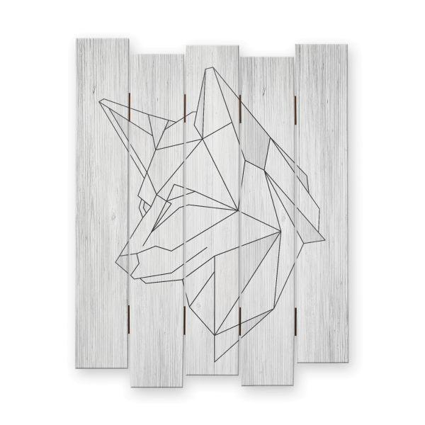 Wolf abstrakt | Shabby chic Holzbild | ca.60x44cm