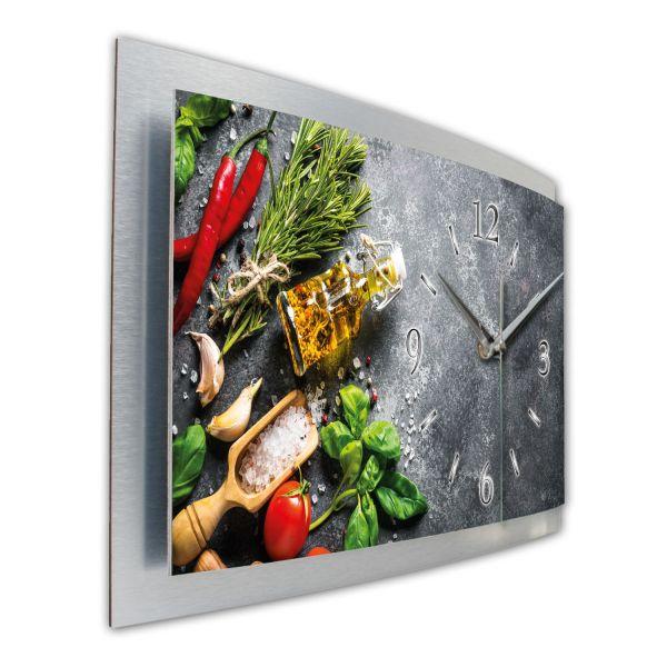 """3D Wanduhr """"Frische Küche"""" aus gebürstetem Aluminium mit leisem Funkuhrwerk"""