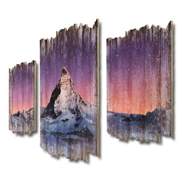 Sternenhimmel Matterhorn Shabby chic 3-Teiler Wandbild aus Massiv-Holz