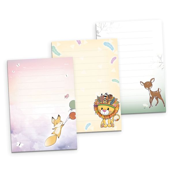 3er Briefpapier-Set für Kinder   Fuchs, Löwe & Reh   3 DIN A5 Briefpapier-Blöcke à 50 Blatt