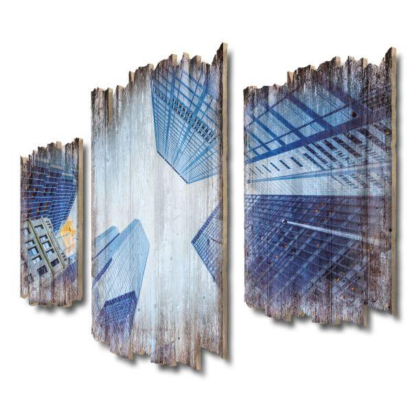 Wolkenkratzer Shabby chic 3-Teiler Wandbild aus Massiv-Holz