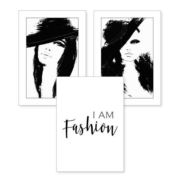 3-teiliges Poster-Set | I am Fashion | optional mit Rahmen | DIN A4 oder A3