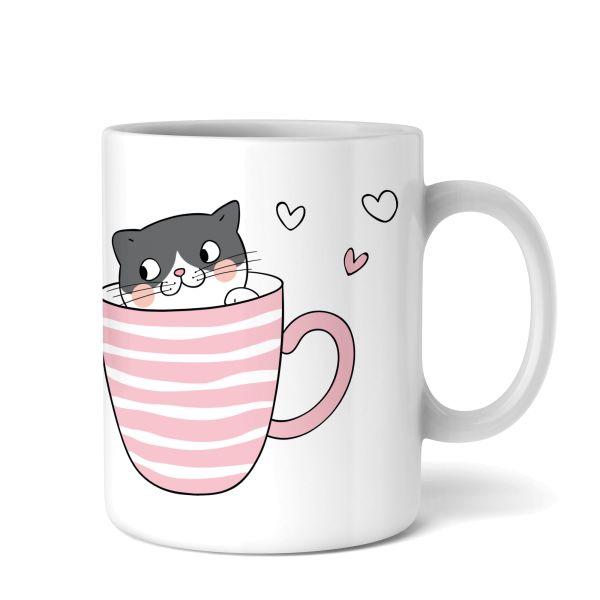 Tasse mit Motiv | Katzen in Tassen | Keramiktasse | fasst ca. 300ml | ideales Geschenk