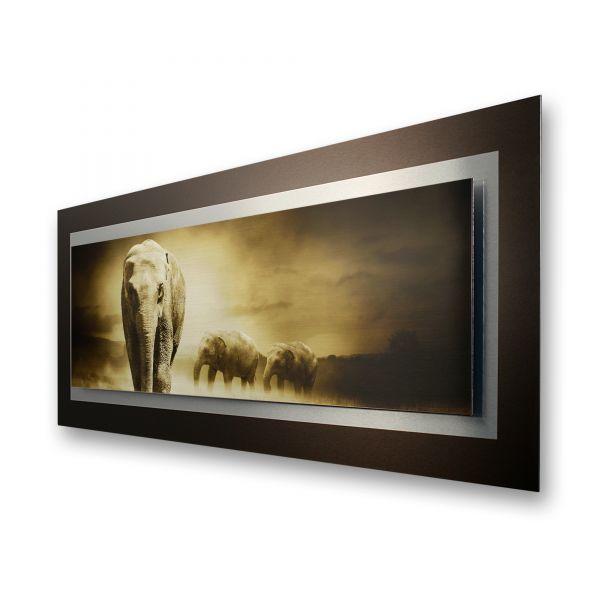 """3D Alu-Wandbild """"Elefanten"""" aus gebürstetem Aluminium"""