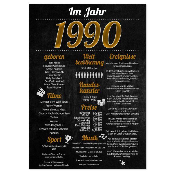 1990 Poster | für Geburtstag, Jubiläum oder Hochzeitstag | Party-Schild | A4 oder A3