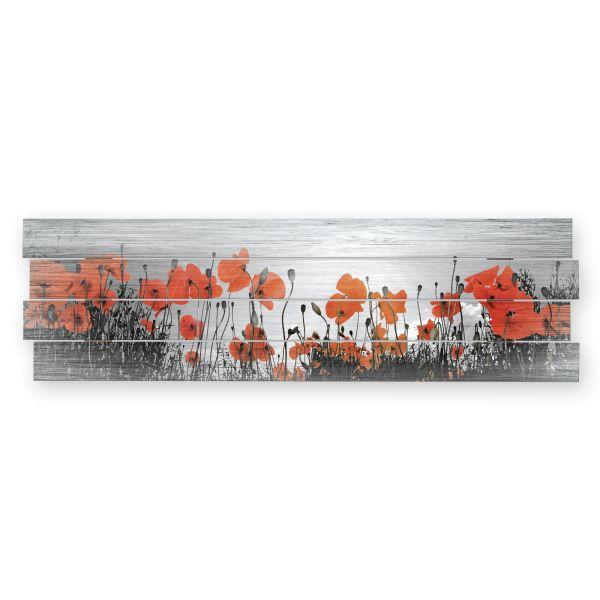 Mohnblumen | Shabby chic Holzbild | ca.100x30cm