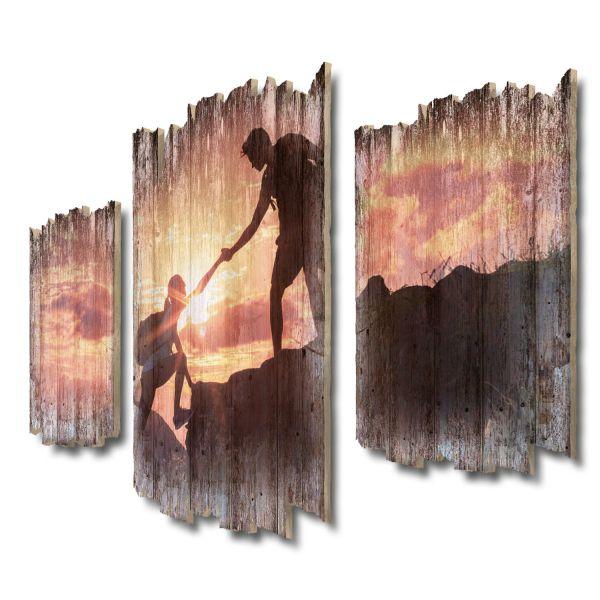Helfende Hand Shabby chic 3-Teiler Wandbild aus Massiv-Holz