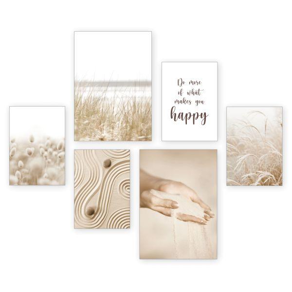 """Sand"" 6-teiliges Poster-Set - optional mit Rahmen - 2 x DIN A3 & 4 x DIN A4"