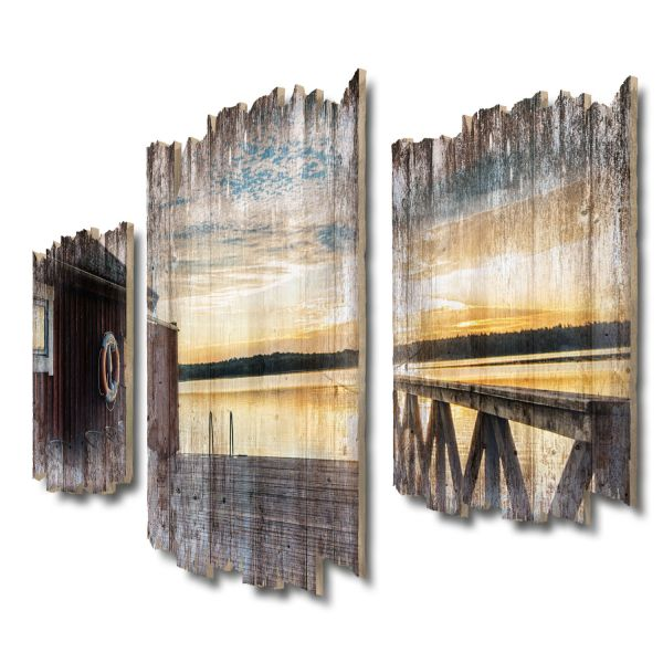 An Schwedens Küste Shabby chic 3-Teiler Wandbild aus Massiv-Holz