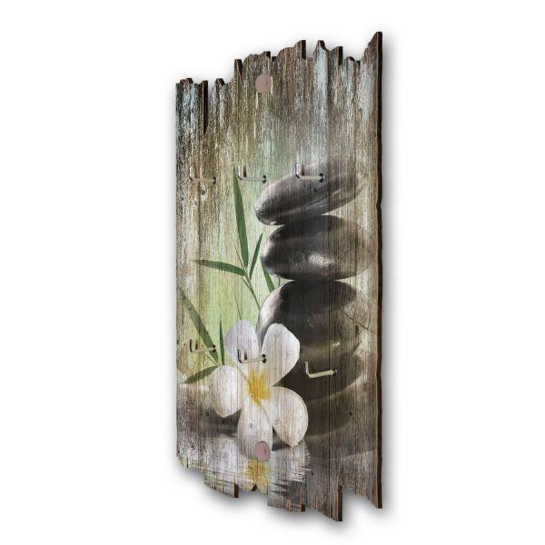 Innerer Frieden Schlüsselbrett mit 6 Haken im Shabby Style aus Holz
