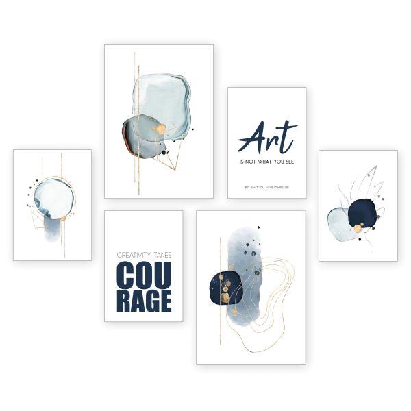 """Art"" 6-teiliges Poster-Set - optional mit Rahmen - 2 x DIN A3 & 4 x DIN A4"