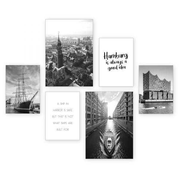 """Hamburg"" 6-teiliges Poster-Set - optional mit Rahmen - 2 x DIN A3 & 4 x DIN A4"