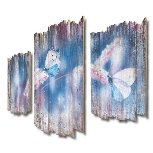 Schmetterlinge im Schnee Shabby chic 3-Teiler Wandbild aus Massiv-Holz