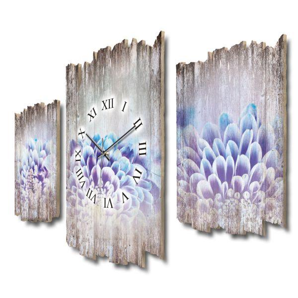 Chrysanthemen Shabby chic Dreiteilige Wanduhr aus MDF mit leisem Funk- oder Quarzuhrwerk