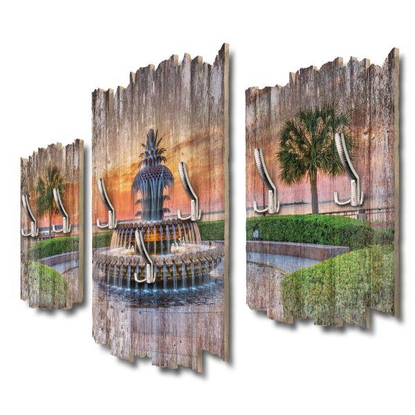 Pineapple Fountain Shabby chic 3-Teiler Garderobe aus MDF