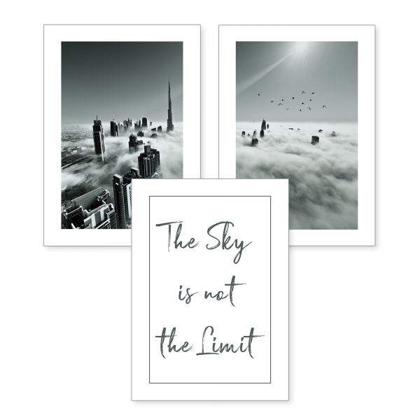 3-teiliges Poster-Set | the sky is not the limit | optional mit Rahmen | DIN A4 oder A3