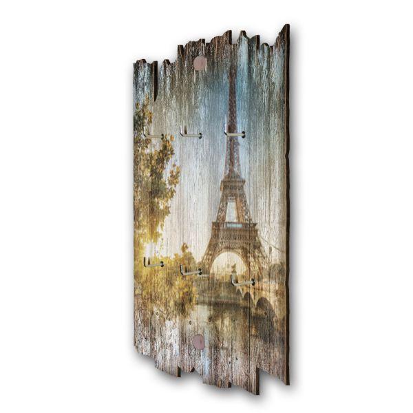 Paris Schlüsselbrett mit 6 Haken im Shabby Style aus Holz