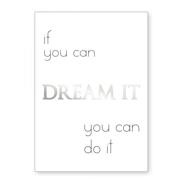 """""""You Can Do It"""" mit Chrom-Effekt veredeltes Poster - optional mit Rahmen - DIN A4"""