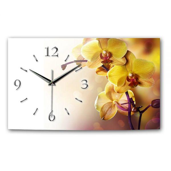 Wanduhr Orchidee gelb aus Alu-Verbund mit leisem Funkuhrwerk
