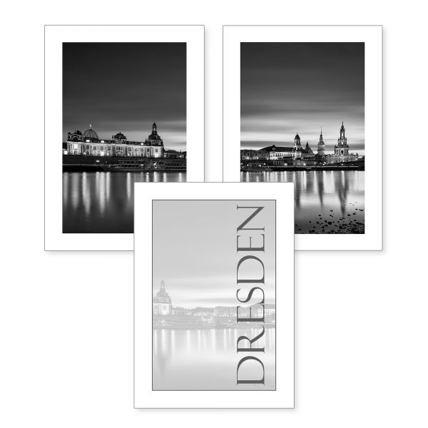 3-teiliges Poster-Set | Dresden | optional mit Rahmen | DIN A4 oder A3