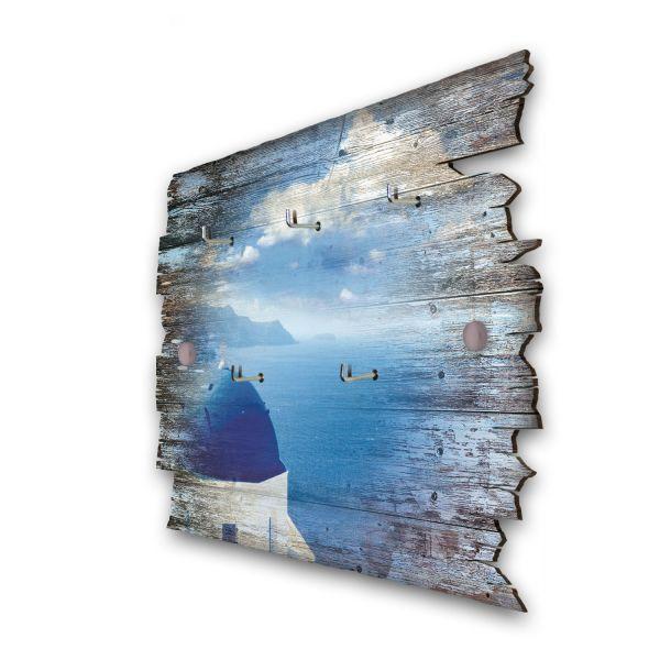 Meerblick Griechenland Schlüsselbrett mit 5 Haken im Shabby Style aus Holz