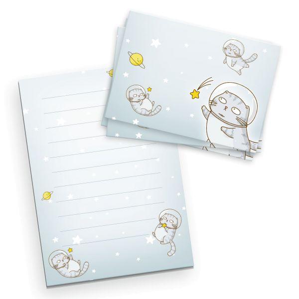 Briefpapier-Set für Kinder | Space Cat | DIN A5 Briefpapier-Block 50 Blatt mit 20 Umschlägen