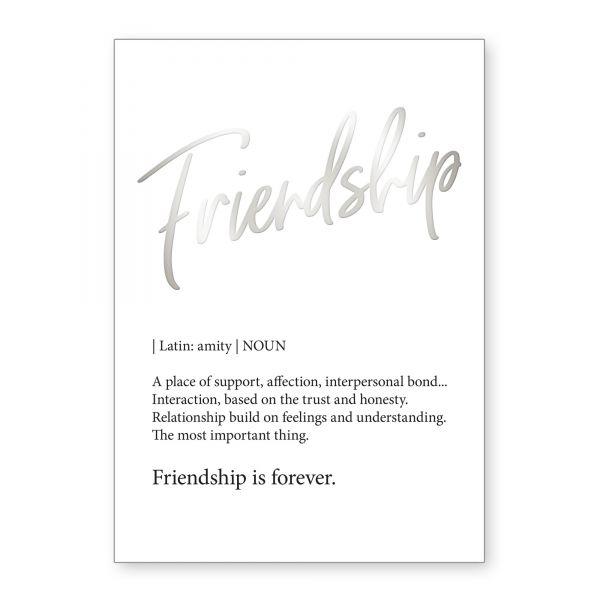 """""""Friendship"""" mit Chrom-Effekt veredeltes Poster - optional mit Rahmen - DIN A4"""