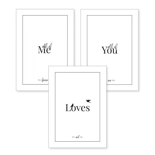 3-teiliges Poster-Set | Me Loves You | optional mit Rahmen | DIN A4 oder A3