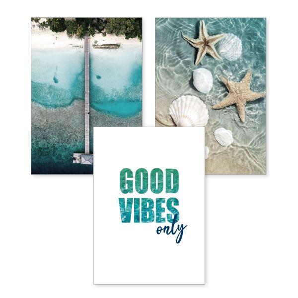 3-teiliges Poster-Set | Good Vibes | optional mit Rahmen | DIN A4 oder A3