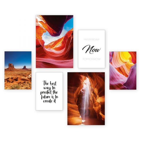 """Canyon"" 6-teiliges Poster-Set - optional mit Rahmen - 2 x DIN A3 & 4 x DIN A4"