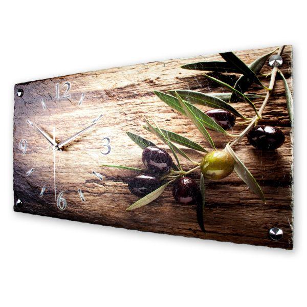 """Designer Wanduhr """"Olive"""" aus echtem Naturschiefer mit leisem Funk- oder Quarzuhrwerk"""