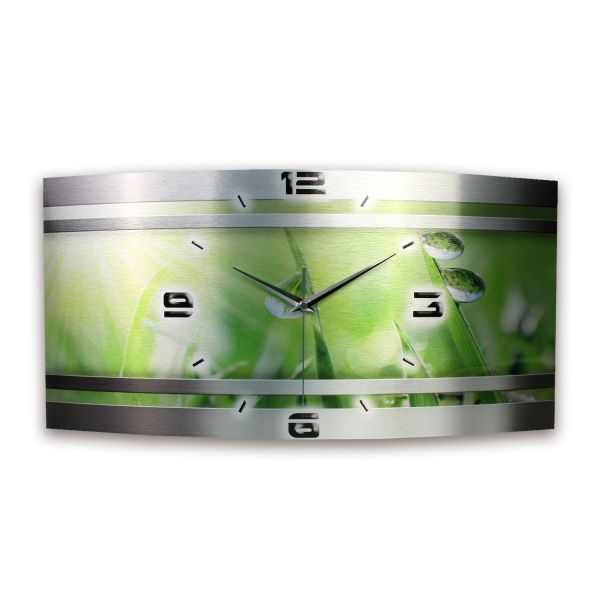 Wanduhr Gras Metallic aus gebürstetem Aluminium mit leisem Funkuhrwerk
