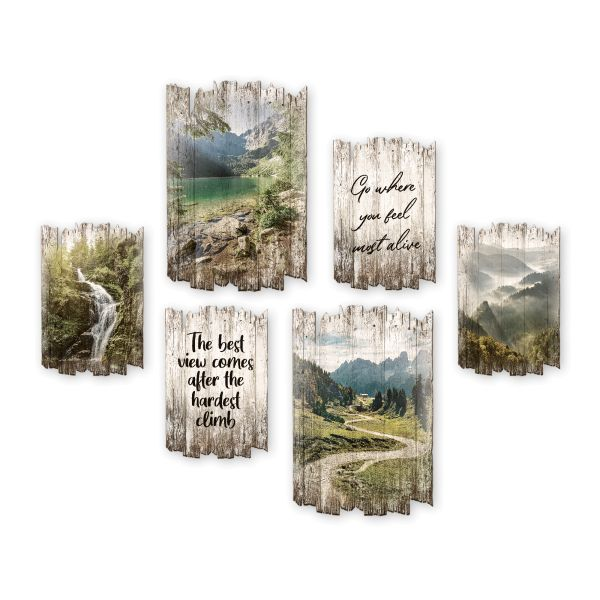 Travel | Shabby chic | 6-teiliges Wandbilder-Set aus Holz