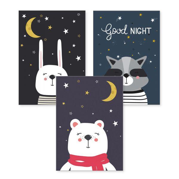 3-teiliges Poster-Set | Good Night | optional mit Rahmen | DIN A4 oder A3