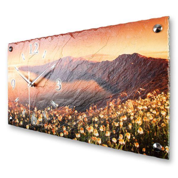 """Designer Wanduhr """"Blumenbucht"""" aus echtem Naturschiefer mit leisem Funk- oder Quarzuhrwerk"""