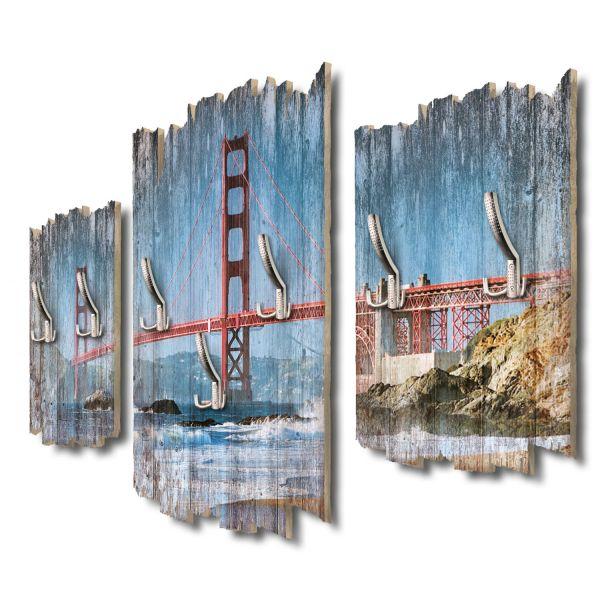 Golden Gate Bridge Shabby chic 3-Teiler Garderobe aus MDF