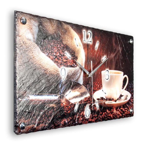 """Designer Funk-Wanduhr """"Kaffee"""" aus echtem Naturschiefer mit leisem Funk- oder Quarzuhrwerk"""