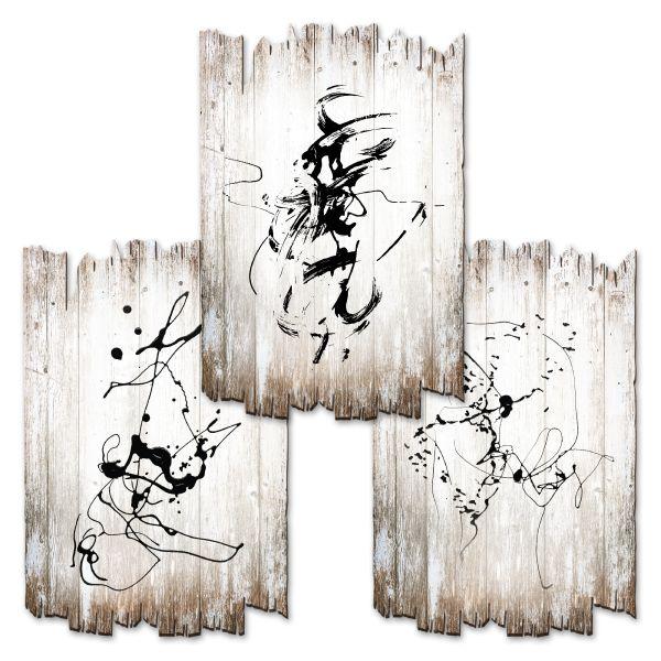 Abstrakte Linien | Deko-Holzschilder im 3er Set | wahlw. in 30x20cm oder 30x45cm