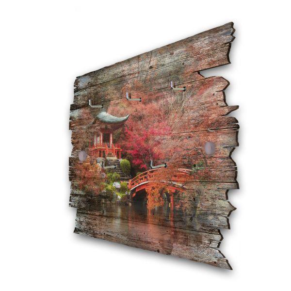 Roter Herbst Schlüsselbrett mit 5 Haken im Shabby Style aus Holz