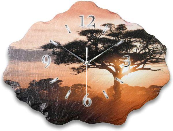 Natur Baum Designer Funk-Wanduhr aus echtem Naturschiefer mit leisem Funk- oder Quarzuhrwerk