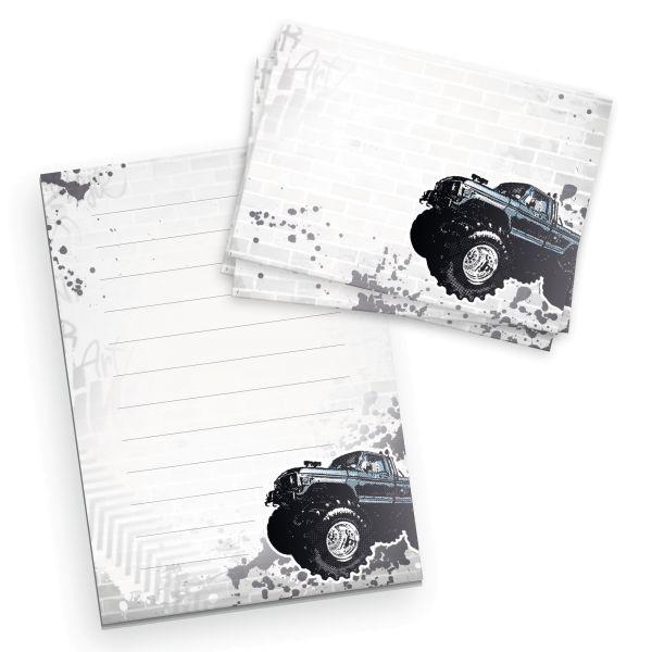 Briefpapier-Set für Kinder | Monstertruck | DIN A5 Briefpapier-Block 50 Blatt mit 20 Umschlägen