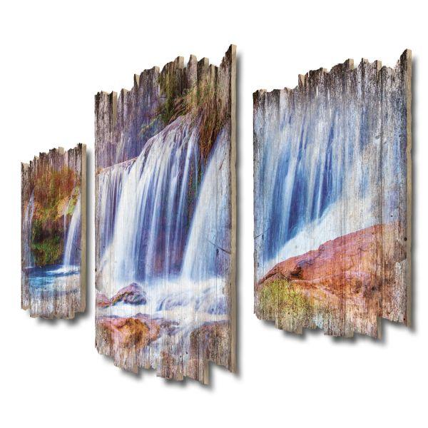 Wasserfall-Panorama Shabby chic 3-Teiler Wandbild aus Massiv-Holz